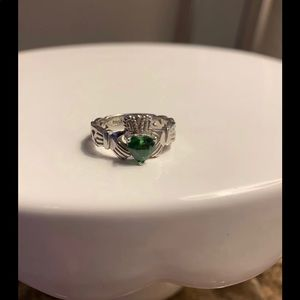 Jewelry - Claddagh Emerald Color Stone Ring